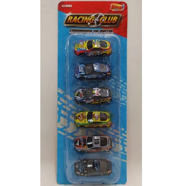Carrinho de Metal Racing CLUB 6 Unidades Zoop TOYS ZP00461