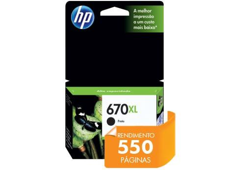 Cartucho HP 670XL Preto 14,0 ML CZ117AB