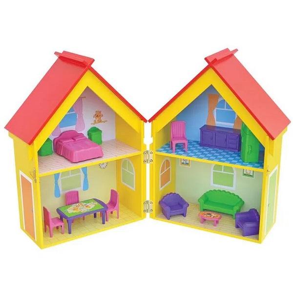 Casinha de Boneca Yellow House Mobiliada Junges 412