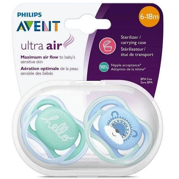 Chupeta ULTRA AIR Dupla Lisa 6-18 Meses Decorada Menino Philips AVENT SCF342/22