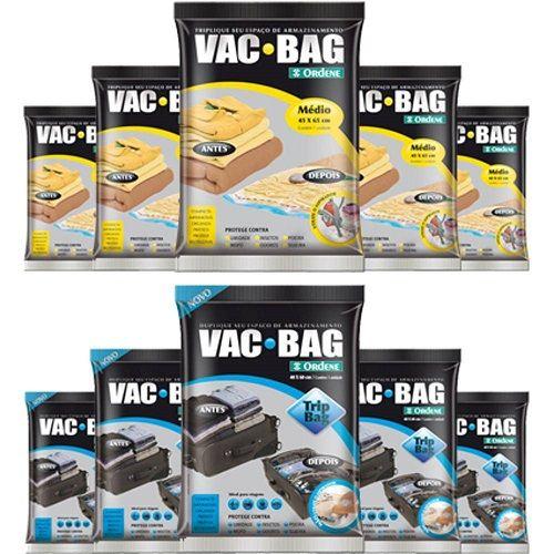 Combo: 10 Sacos a Vácuo VAC BAG 5 Médios 5 TRIP VAC Ordene
