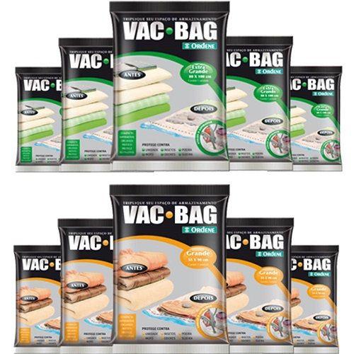 Combo: 10 Sacos a Vácuo VAC BAG com 5 EXTRA + 5 Grande Ordene