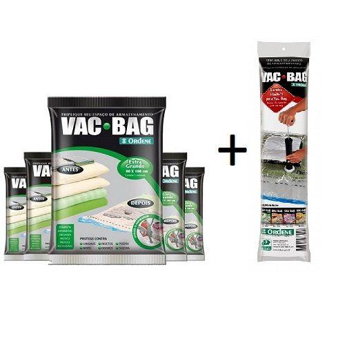Combo: 5 Sacos a Vácuo VAC BAG EXTRA Grande + Bomba Plastica Ordene