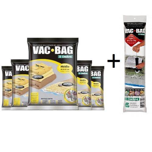 Combo: 5 Sacos a Vácuo VAC BAG Medio 45 X 65 + Bomba Plastica Ordene