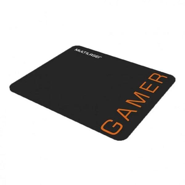 Combo Mouse 3200DPI e Mousepad Gamer Laranja Multilaser MO274