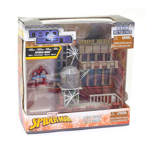 Conjunto Boneco de Metal Nano Marvel Spiderman e Playset DTC 4944
