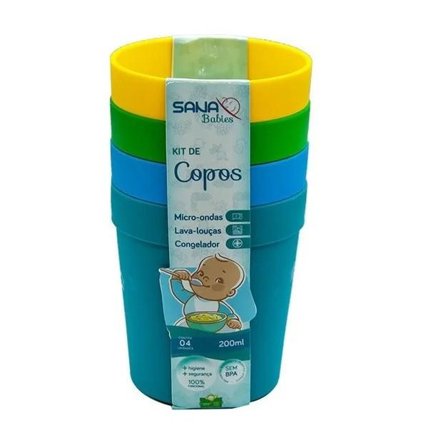 Conjunto de Copos Infantil 380ML 4 Unidades Colorido Sana Babies 9322