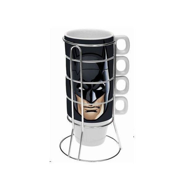 Conjunto de Xicara Porcelana Cappuccino Batman Face Preto 5PCS 225ML URBAN 41289