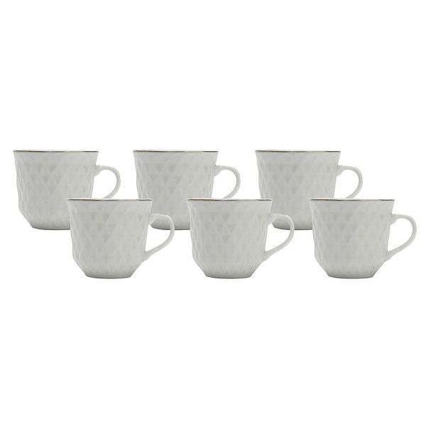 Conjunto de Xicaras para Cafe em Porcelana Branca com Filete Prata 90ML LYOR 8230