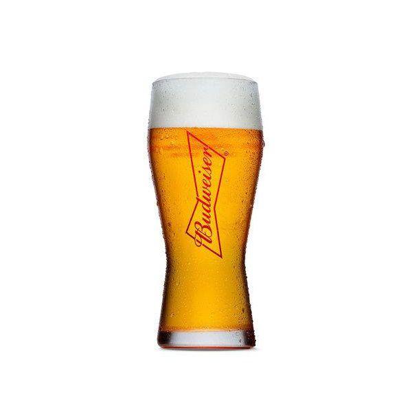 Copo Budweiser em Vidro para Cerveja Gravata Decorado 400ML Globimport