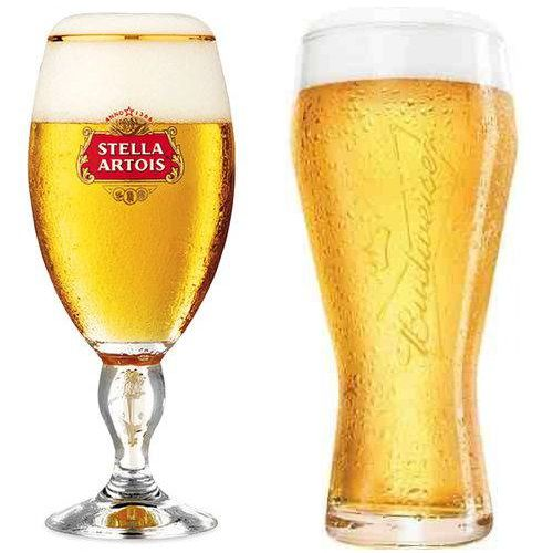 Copo Budweiser + Taça Stella Artois Globimport