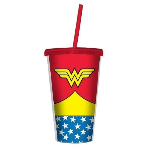 Copo Plastico com Tampa e Canudo Wonder Woman Vermelho URBAN 28115