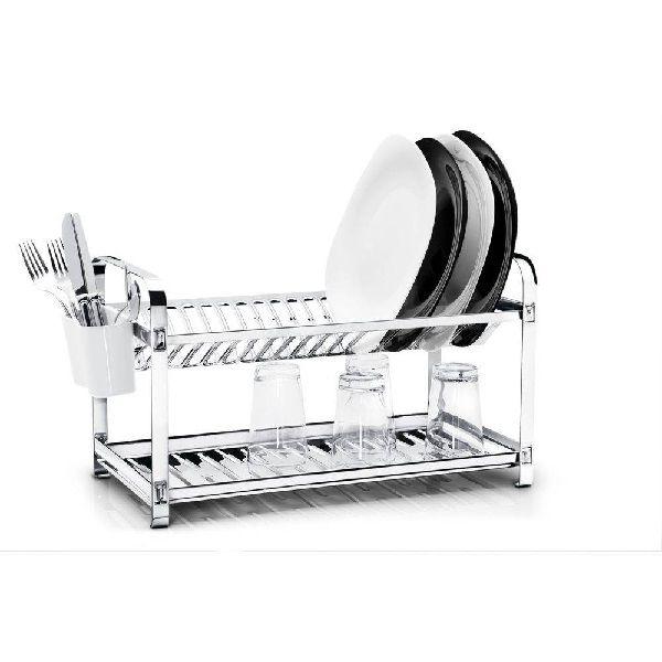 Escorredor AÇO INOX para 20 Pratos + Porta Talher Plastico Makinox 20.20
