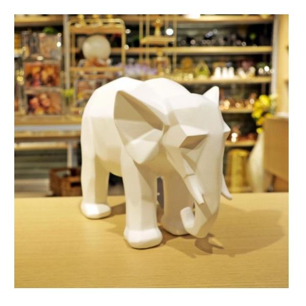 Escultura Elefante Poliresina Branco MART 13263