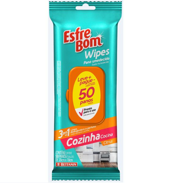 Esfrebom Wipes Cozinha 50 Panos Bettanin BT4663