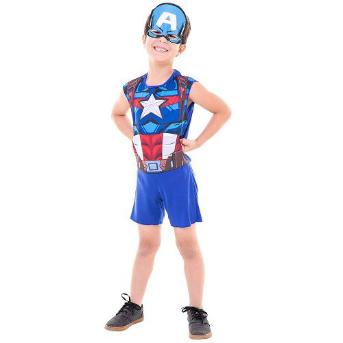 Fantasia Capitao America Superpop Curta P FUN Factory 307700003