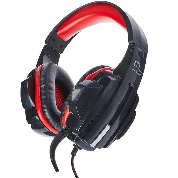 Fone de Ouvido Headset Gamer P2/CABO NYLON Multilaser Vermelho PH120