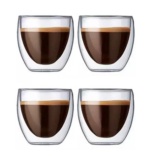 Jogo 4 Copos Vidro Café Expresso Parede Dupla 80ML Mimo STYLE