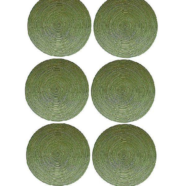 Jogo de 6 Peças  Americano Redondo 38CM Verde Mesclado Mimo STYLE