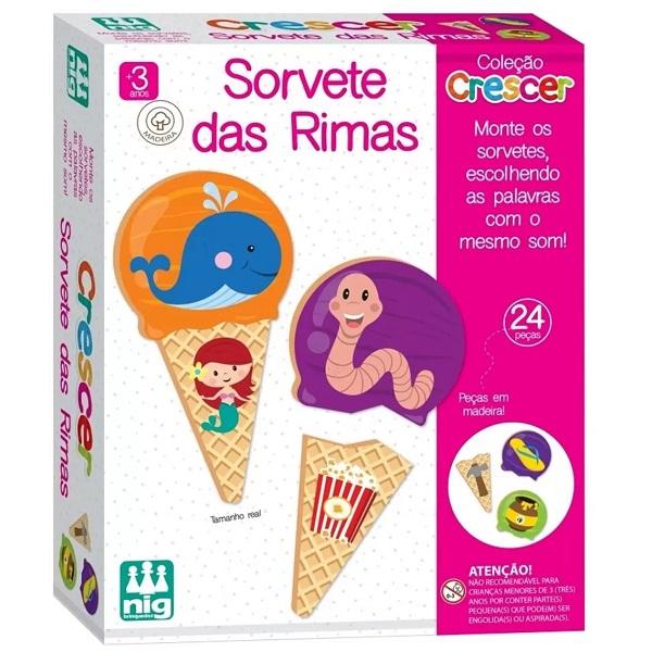 Jogo Educativo Madeira Sorvete das Rimas NIG Brinquedos 0455