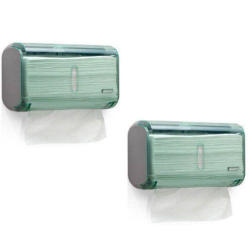 Kit 2 Dispenser Toalheiro URBAN Compacta GLASS Verde Premisse C19821