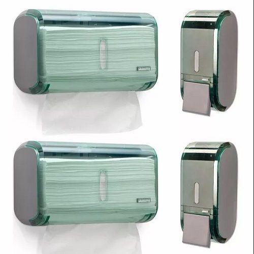 Kit 2 Dispensers Toalheiro e 2 Saboneteiras Verde Premisse