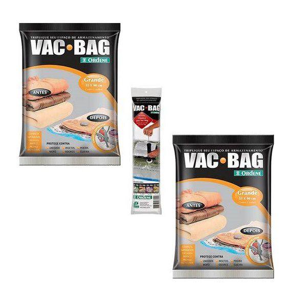 Kit 2 Sacos a Vacuo Grande 55 X 90 VAC BAG + Bomba Ordene