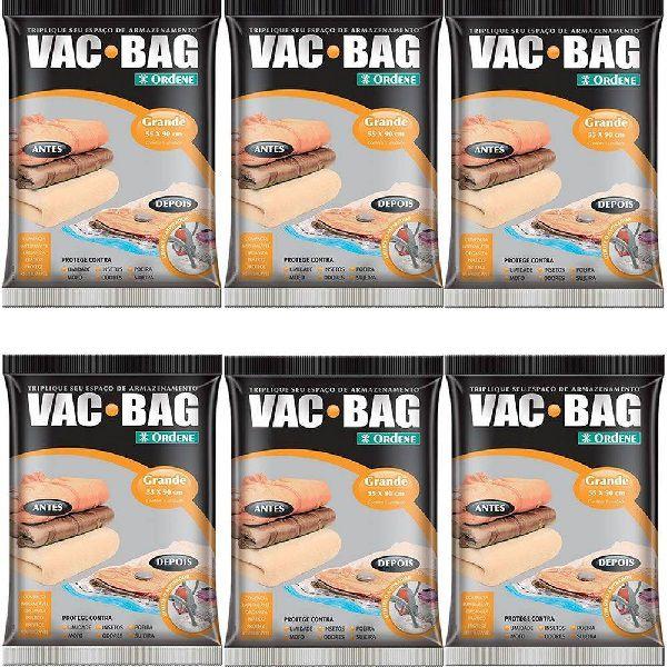 Kit 6 Sacos a Vacuo VAC BAG Ordene Grande 55X90 Protetor Roupas