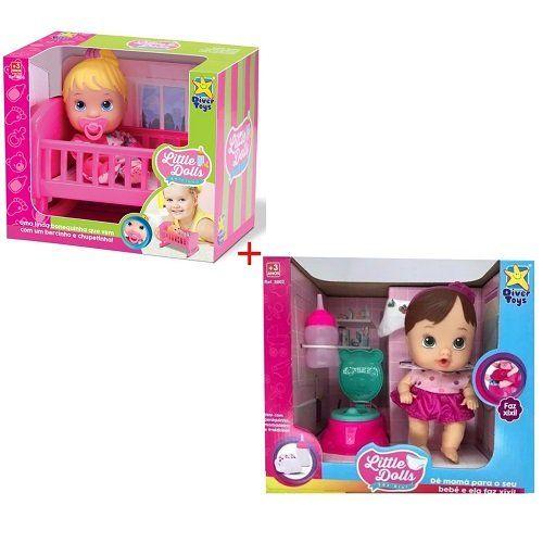 Kit BABY Little DOLLS Bercinho + FAZ Xixi Divertoys