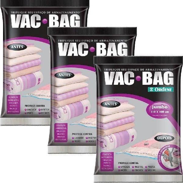 Kit com 3 Sacos a Vacuo VAB BAG Jumbo Ordene 100 X 110