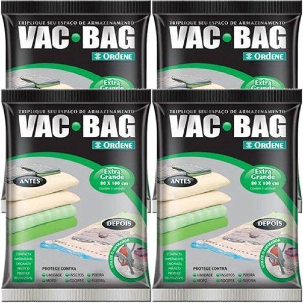 Kit com 4 Sacos À Vácuo VAC BAG Ordene EXTRA Grande 80X100 Edredom