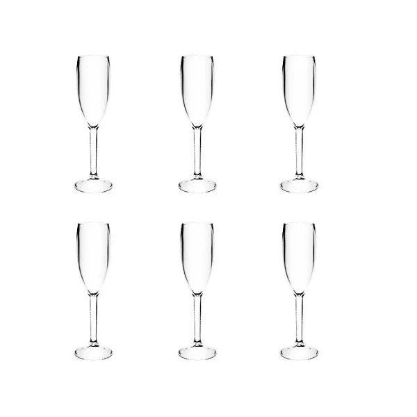Kit com 6 Tacas Acrilico Champagne Cristal 160 ML KOS