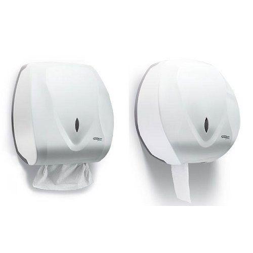 Kit Dispenser Toalheiro e Porta Papel Higienico Velox Branco Premisse