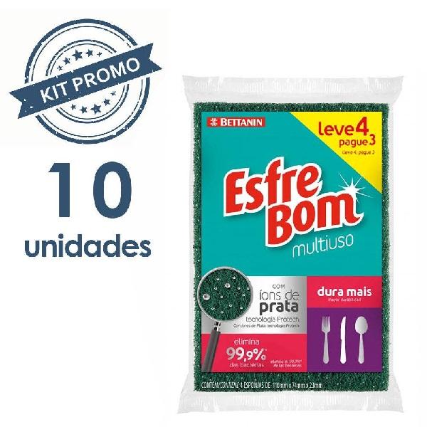 Kit Esponja Esfrebom Abrasivo Multiuso com 10 Pacotes de 04 Unidades Bettanin