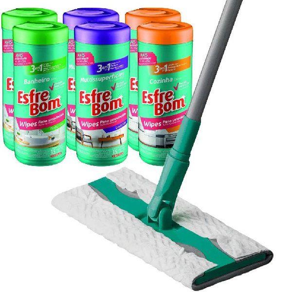 Kit MOP Noviça Wipes Limpeza Rápida + 6 Panos Umedecidos Esfrebom Wipes Bettanin