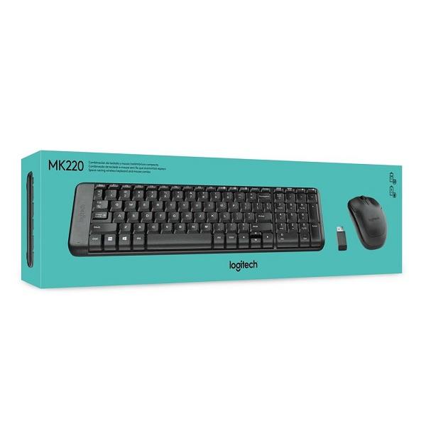 Kit Teclado e Mouse Wireless Logitech MK220 Preto - 920-004431