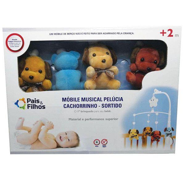 Mobile Musical Pelucia Cachorrinho Masculino Pais e Filhos 0981