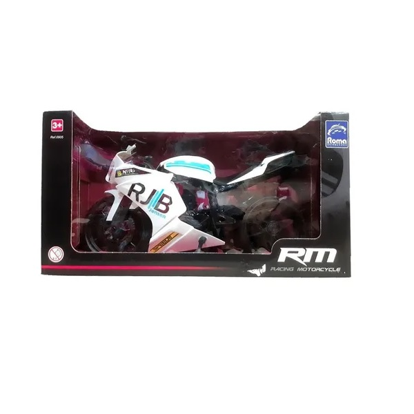 Moto Racing Motorcycle 34,5CM Branco Roma 0905