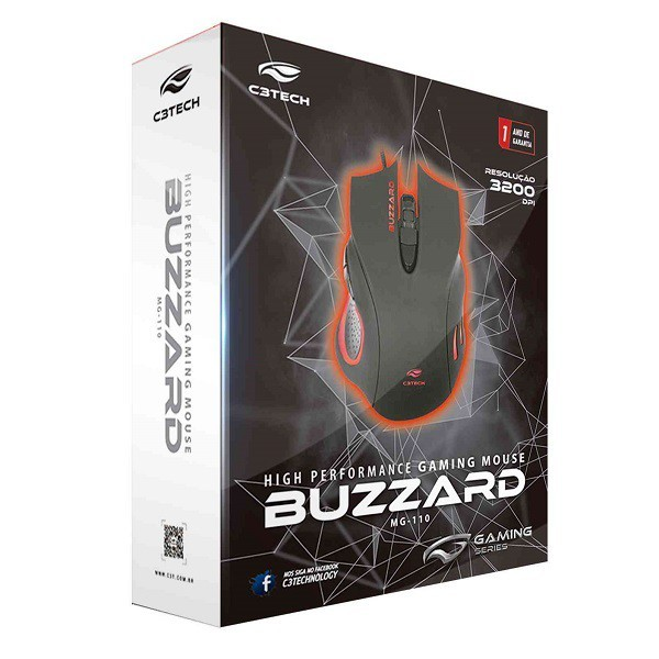 Mouse Gamer Buzzard USB 3200DPI LED Multicolorido Preto C3 TECH MG-110BK