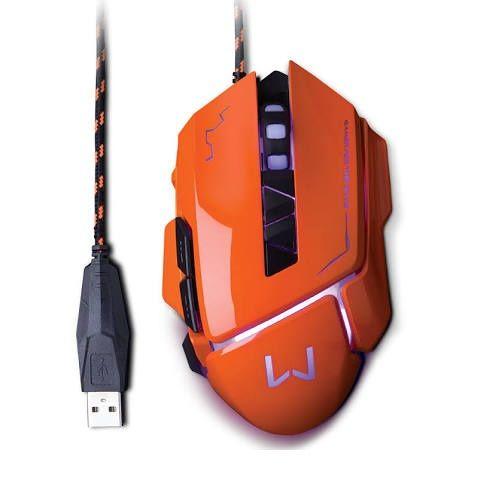 Mouse Gamer Warrior 3.200DPI USB Laranja Multilaser MO263