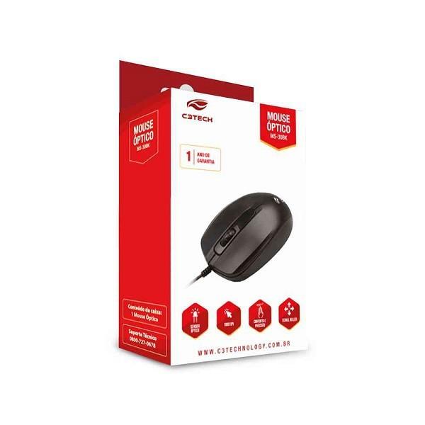 Mouse Optico USB MS-30BK 1000DPI Preto - C3 TECH