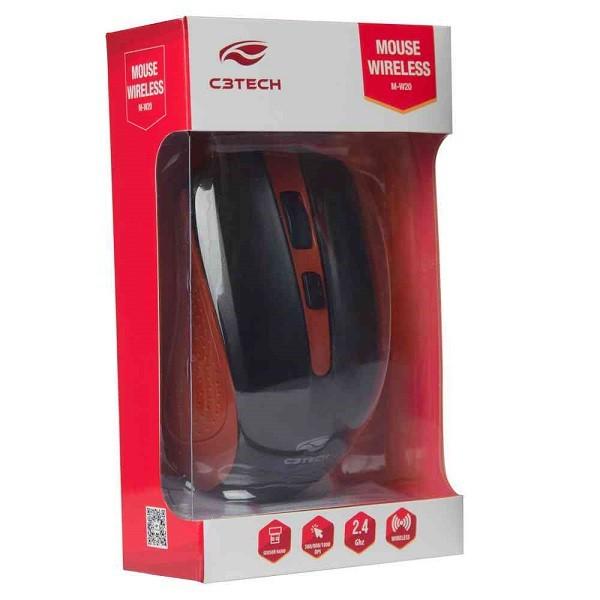 Mouse sem Fio RC/NANO M-W20RD Vermelho C3 TECH