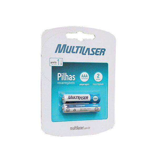 Pilha Recarrega�vel AAA 1000MAH Blister com 2 Multilaser CB051