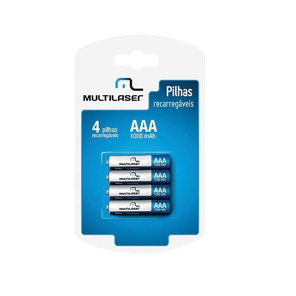 Pilha Recarregavel AAA 1000MAH C/4 Multilaser CB050