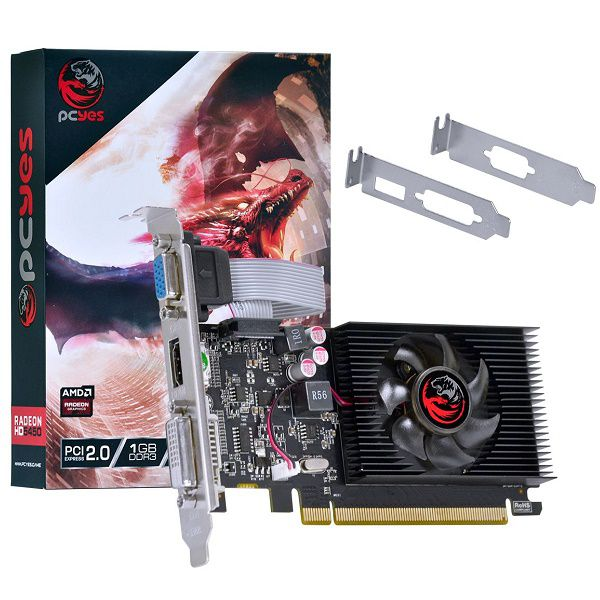 Placa de Video AMD Radeon HD 5450 1GB DDR3 64 BITS com KIT LOW Profile PJ54506401D3LP PCYES 30155