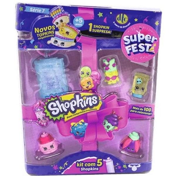 Shopkins Super Festa Serie 7 com 5 DTC 3581 Sortidos