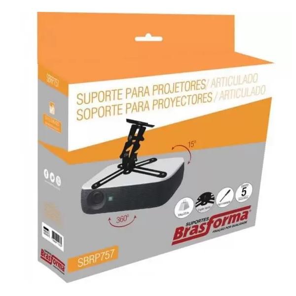 Suporte de Teto Universal Preto para Projetor SBRP757 Brasforma