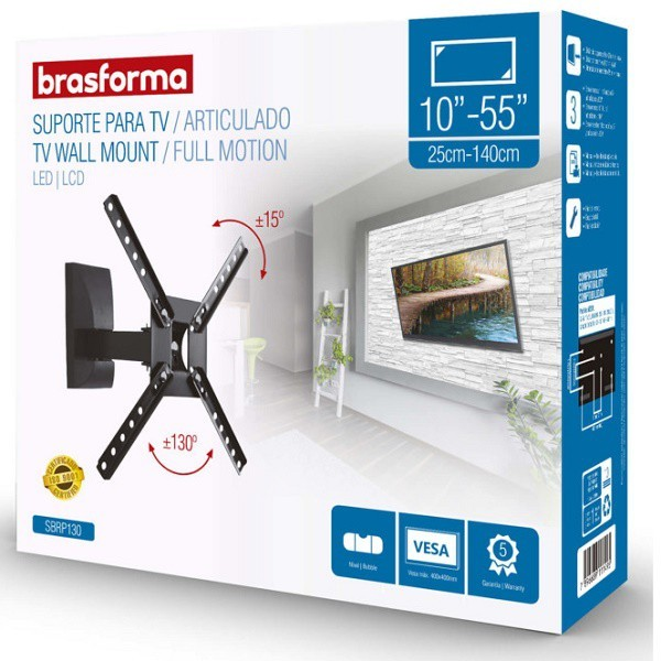Suporte para TV de 10 a 55 Articulado Brasforma SBRP130 Preto com Inclinacao