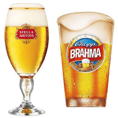 Taça Stella Artois em Vidro + Copo Brahma Globimport