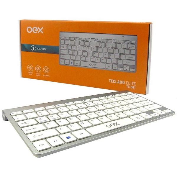 Teclado Bluetooth Elite Branco Tc501 Oex